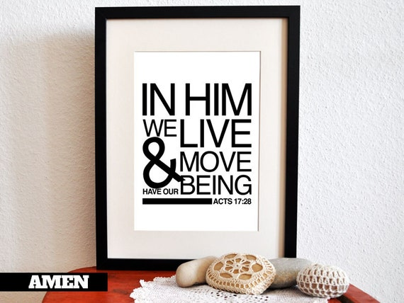 Acts 17:28. In Him We live. PDF. Printable DIY Christian Poster. Scripture.Bible Verse.