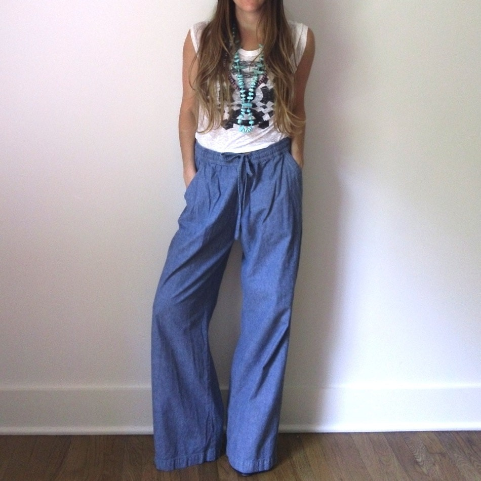 Vintage chambray wide leg pants denim chambray by for Chambray jeans