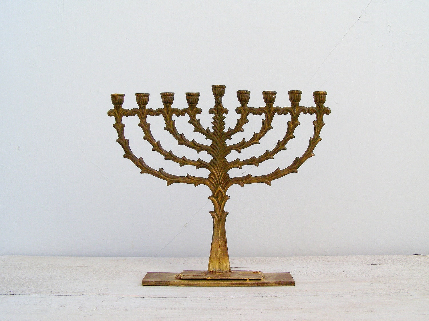 Antique Hanukkah Menorah Vintage Jewish Holiday Candelabra