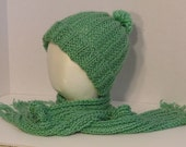 Hat / Scarf Set Jade Green Hand Knitted Warm Winter Super Soft Cozy Slouch Hat