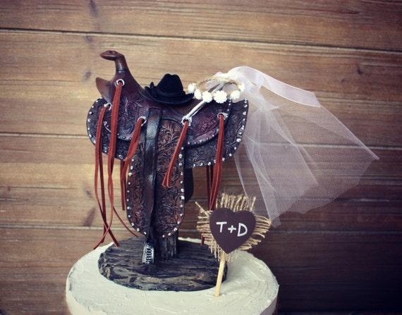 Western Saddle Horse Back Riding Wedding-western centerpiece-Western Themed Wedding Cake Topper