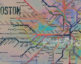 The Colors de Boston.  Boston T City Transportation Map  Art