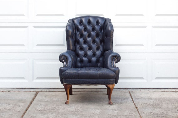 Vintage Navy Blue Tufted Leather Wingback By Homesteadseattle
