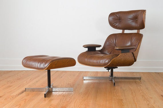 Mid Century Leather Eames Lounge Chair And Ottoman Replica By