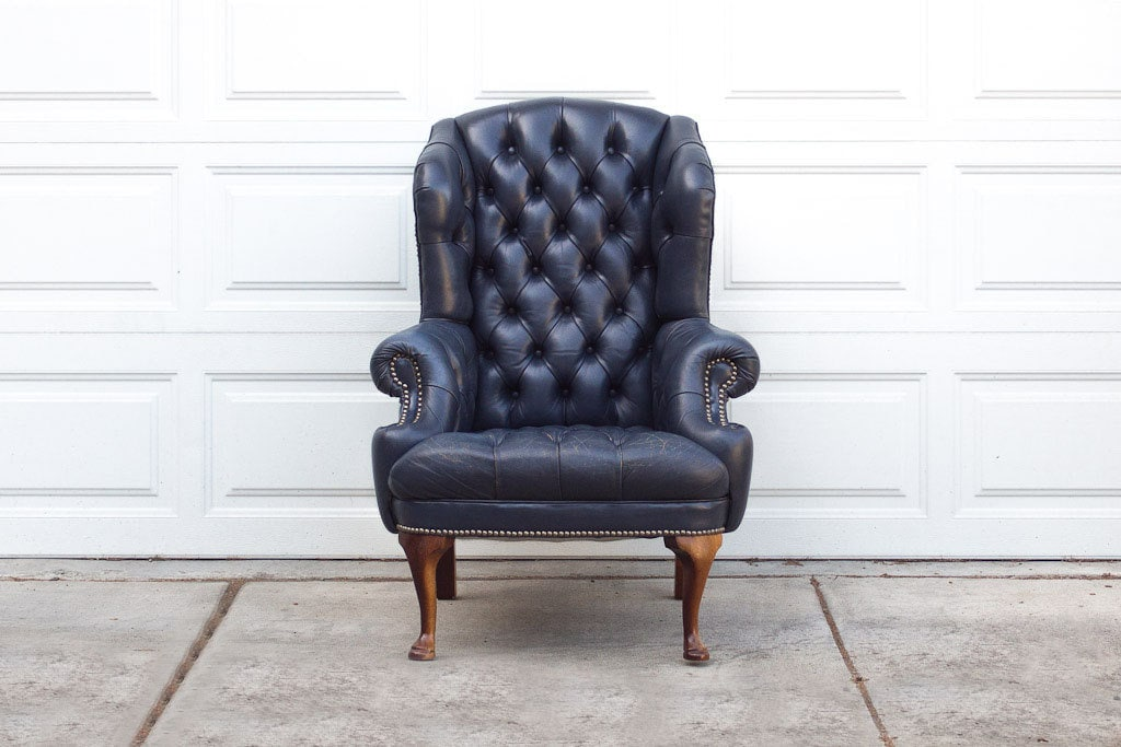Vintage Navy Blue Tufted Leather Wingback Library Chair – Navy Blue Leather Chairs