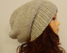 Sacking Winter Hat - Autumn Accessories - Slouchy Beanie Hat Oversized Hat - Chunky Knit  - Mens Slouchy oatmeal ANY COLOR slouchy knit hats