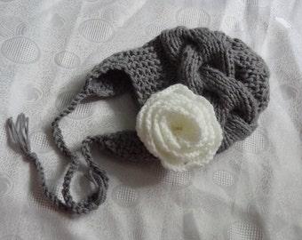 Kids Hat, Baby Girl Hat Newborn Hat Photo Prop, Baby Hat , Girl winter Hat,  Earflap Baby Hat,  Knit Baby Hat,  Newborn Hat,