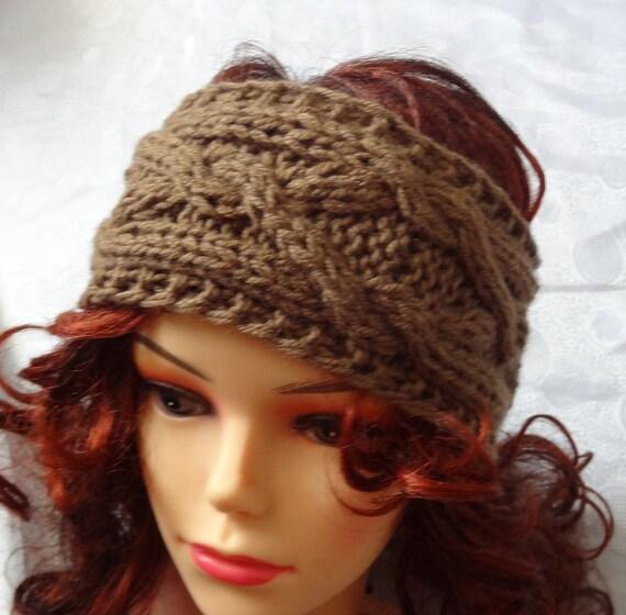 Handmade Knit Cable Headband Plait TAN Knitted Headband Hand knit headband, head wrap, ear warmer TAN accessories handmade