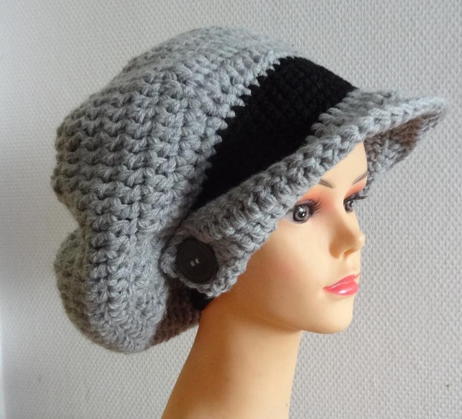 Large Crochet beret Winter Hat Hand Crochet Hat Winter by ...