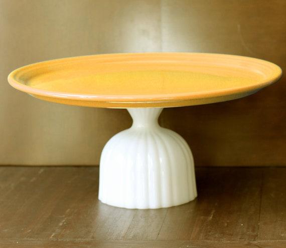 "15"" Orange Cake Stand / Ceramic Cake Plate Pedestal / Cupcake Stand / Thanksgiving Turkey Platter Tray Pedestal / Fall Autumn Weddings"