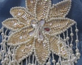 Large Ivory Sequin and White Beaded Floral Applique Clear Center
