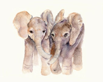 Baby Elephants 5 X 7 Print from Original Watercolor
