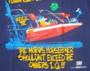 Vintage 1991 Fishing Rule Number 3 Blue T Shirt