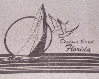 Vintage 80s Daytona Beach Florida Grey Ringer T-Shirt