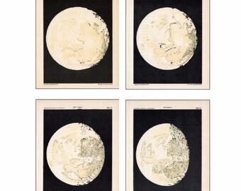 MOON PHASES set of 4 prints celestial astronomy - days 11 thru 14