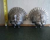 Antique RARE cast aluminum Turkey shaped handles, could be hood ornaments, bookends