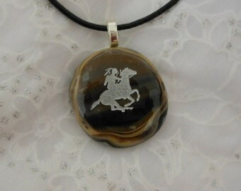 Rustic Fused Glass Jewelry, Fused Glass Pendant Necklace, Indian Horse and Rider  Pendant Necklace