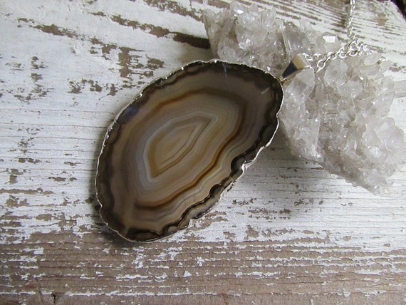 RIO / Raw Silver Plated AGATE Slice Geode Pendant Layering Necklace Long, Brown Swirl - Natural, Bohemian, Rock, Glam, Spring, Summer, Gift