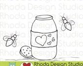 Mason Jar and Fireflies Digital Clip Art Coloring Stamps