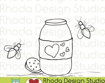 Mason Jar and Fireflies Digital Clip Art Coloring Stamps