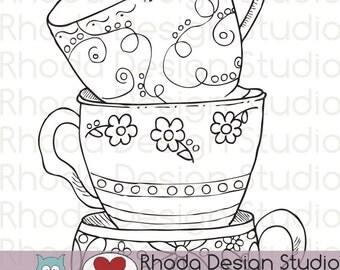 Stack of Tea Cups Digital Clip Art Coloring Stamps