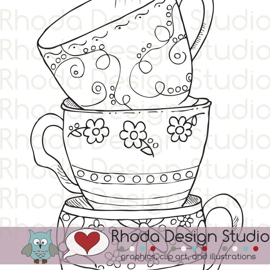 tea cups coloring pages adults - Google Search | Bullet journal ... | 864x864