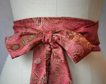 Red Asian brocade obi belt sash satin paisley waist cincher wedding reversible gold green