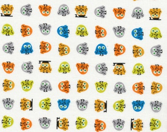 ORGANIC Cotton Fabric Happy Drawing by Ed Emberley for Cloud9 Fabrics Owls half yard