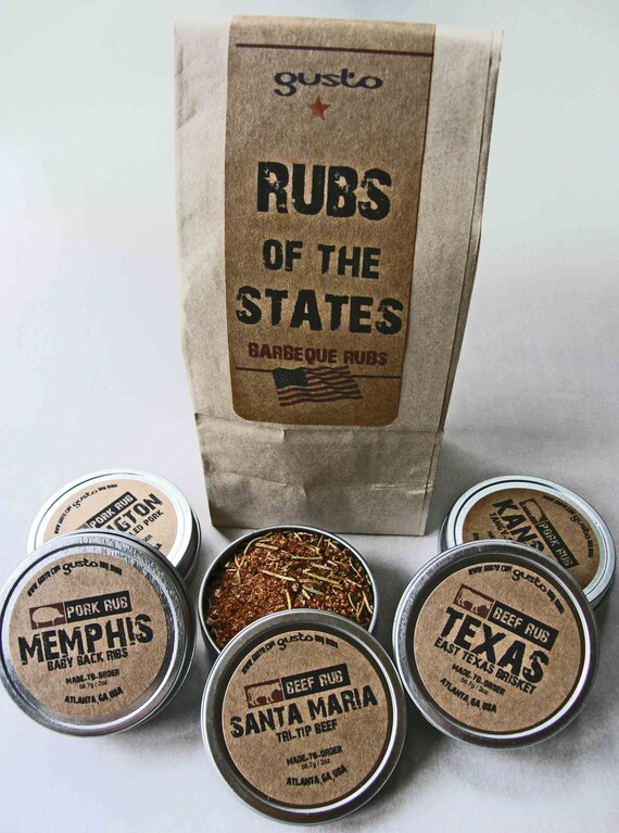 Gusto's Rubs of the States - Barbecue Rub Gift Set -  BBQ Grilling Date