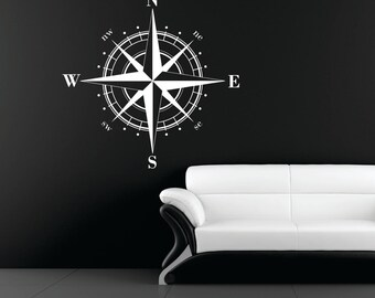 Xtra-Large Compass Rose Nautical Vinyl Wall Decal