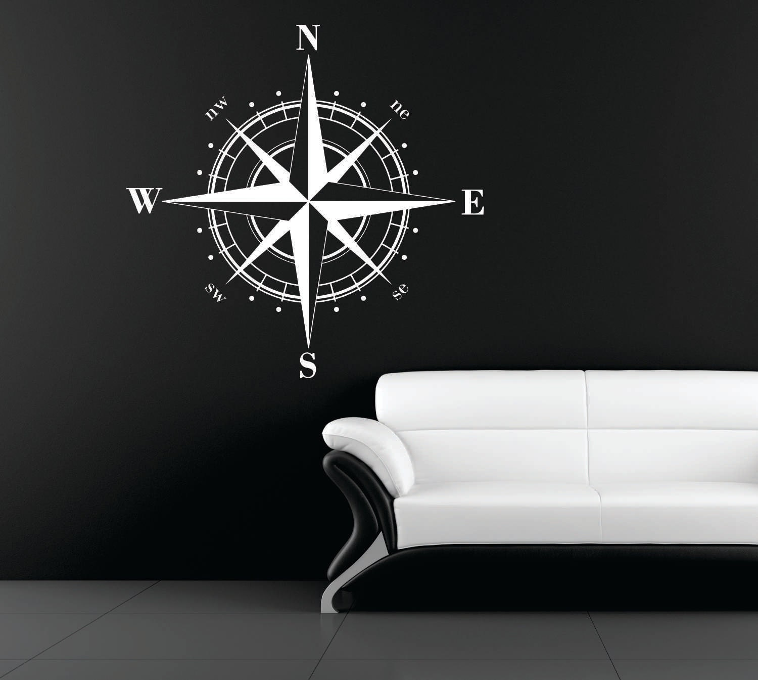 Large Compass Rose Nautical Vinyl Wall Decal Ceiling
