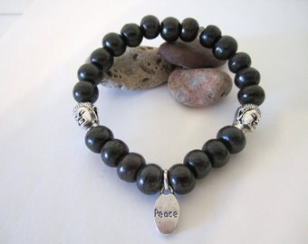 Stone Bead Bracelet with Buddha Beads and Peace Charm