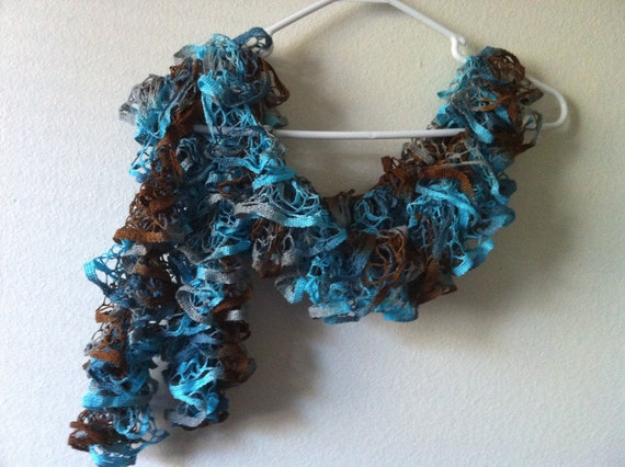 Ruffle Scarf in Turquoise and Brown, Hand Knit Soft Frilly scarf, lace scarf, USA seller