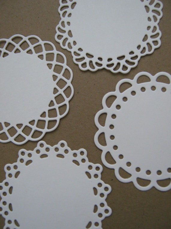 Vintage Paper Mini Doily Doilies for Packaging, Tags, Paper Crafts, GIfts - Set of 100- 1 3/4 inch White