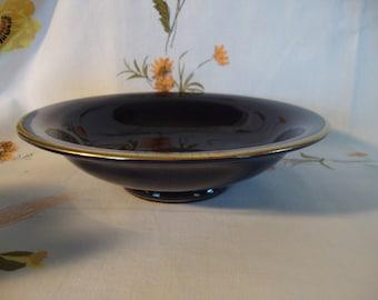 Cobalt blue bowl porcelain footed pedestal Germany gold rim