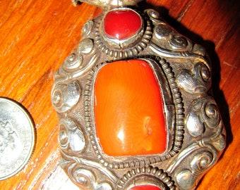 Vintage Tibetian Coral Amber Silver Pendant