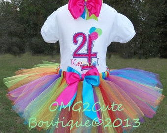 Birthday Balloons outfit includes Shirt, Tutu and Hair bow-PERSONALIZED