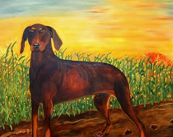 Dog Portrait  Doberman Painting 16x20