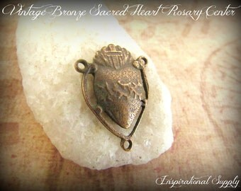 Vintage Bronze Sacred Heart of Jesus/Mary Reversible Rosary Centerpiece - 572