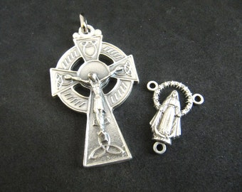 Silver Celtic Rosary Crucifix and Matching Miraculous Mary with Stars Reversible Rosary Center