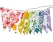 Vintage RAINBOW Bunting - Retro Multi-Colours Floral Flags . HANDMADE . Corporate Events, Birthday Parties, Garden Party, Shop Display