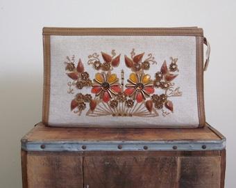 Enid Collins / Enid Collins Purse / 70s Bag / Clutch / Collins of Texas / Collins of Texas Bag / Garden Party / Jeweled / Gem / Khaki Bag