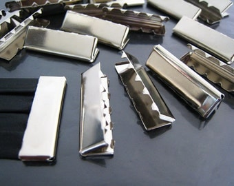 Finding - 6 pcs Silver Fold Over Very Long Edge End Cap Flat Crimp without Loop ( 32mm x 10mm )
