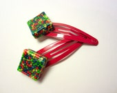 Barrettes Candy Resin Clips Colorful Diamond Squares Red Yellow Blue Green