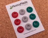 Buttons Vintage Scallop Style - Merry & Bright (red, green, silver glitter)