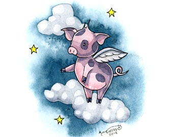 Flying pig art print watercolor painting 5 x 7 print when pigs fly