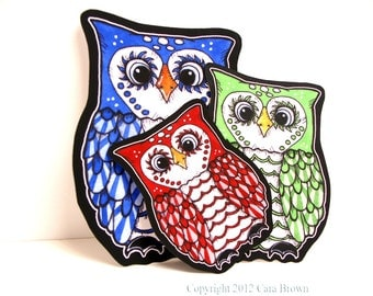 Owl Family Car Window Sticker Set Vinyl Decals Dad Mom Child Kid- Choose your own colors