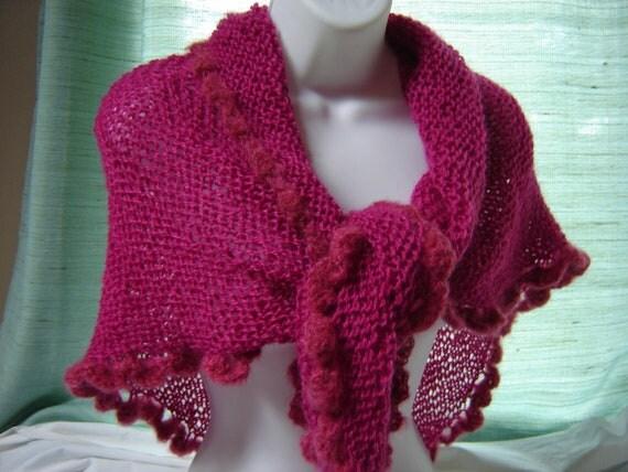 Womens Luxury Hand Knit Crochet Triangle Shawl Wrap Mohair  Wool