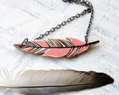 Coral Wooden Feather Pendant Necklace