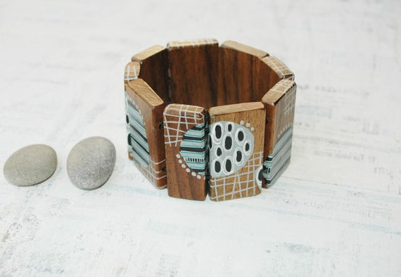 Grey,Black and White Hand Painted Walnut Wood Bracelet  Wearable Art Jewelry Abstract Jewelry Wooden Bracelet